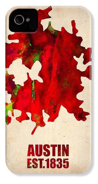 Austin Watercolor Map IPhone 4 / 4s Case by Naxart Studio