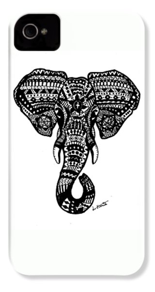 Aztec Elephant Head IPhone 4 Case by Loren Hill
