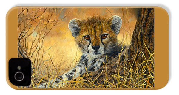 Baby Cheetah  IPhone 4 Case by Lucie Bilodeau