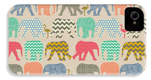Baby Elephants And Flamingos Linen IPhone 4 / 4s Case by Sharon Turner
