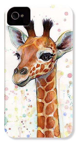Baby Giraffe Watercolor  IPhone 4 Case