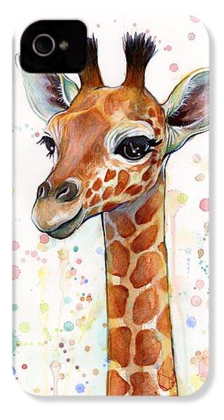 Baby Giraffe Watercolor  IPhone 4 Case by Olga Shvartsur