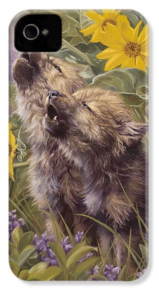 Baby Wolves Howling IPhone 4 Case by Lucie Bilodeau