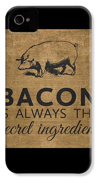 Bacon Is Always The Secret Ingredient IPhone 4 Case by Nancy Ingersoll