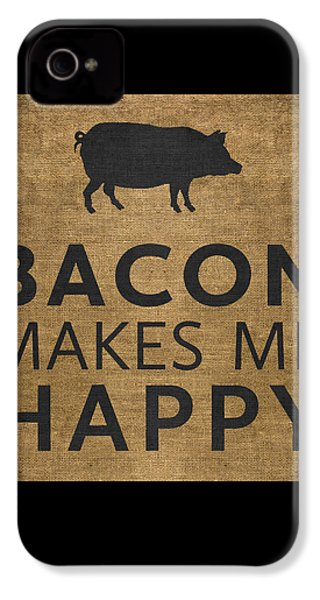 Bacon Makes Me Happy IPhone 4 Case by Nancy Ingersoll
