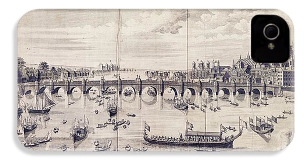 Barges At Westminster Bridge IPhone 4 Case by Library Of Congress