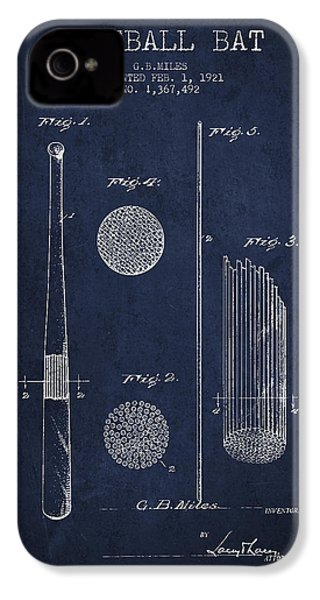 Baseball Bat Patent Drawing From 1921 IPhone 4 Case by Aged Pixel