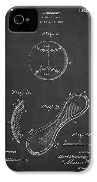 Baseball Cover Patent Drawing From 1923 IPhone 4 Case by Aged Pixel