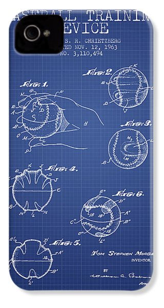 Baseball Cover Patent From 1963- Blueprint IPhone 4 Case by Aged Pixel