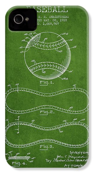 Baseball Patent Drawing From 1928 IPhone 4 Case by Aged Pixel