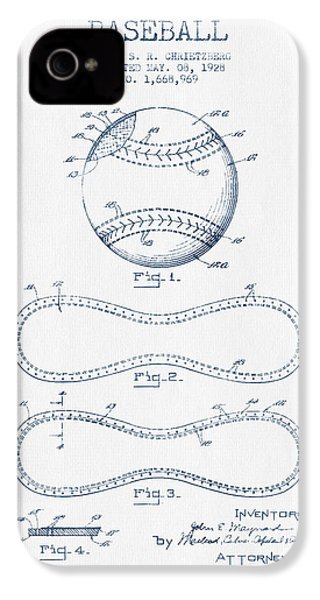 Baseball Patent Drawing From 1928 - Blue Ink IPhone 4 Case by Aged Pixel