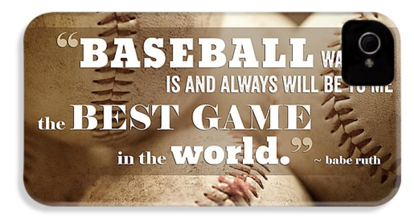 Baseball Print With Babe Ruth Quotation IPhone 4 Case by Lisa Russo