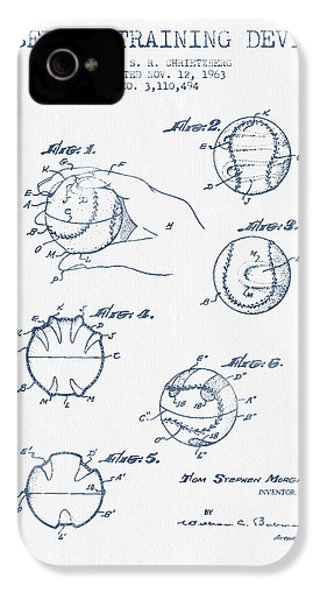Baseball Training Device Patent Drawing From 1963 - Blue Ink IPhone 4 / 4s Case by Aged Pixel