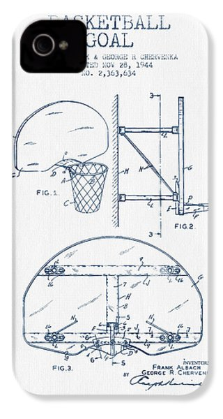 Basketball Goal Patent From 1944 - Blue Ink IPhone 4 Case by Aged Pixel
