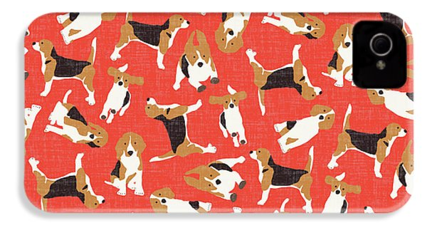 Beagle Scatter Coral Red IPhone 4 / 4s Case by Sharon Turner