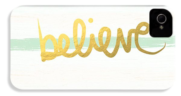 Believe In Mint And Gold IPhone 4 Case by Linda Woods
