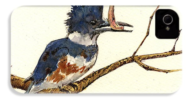 Belted Kingfisher Bird IPhone 4 / 4s Case by Juan  Bosco