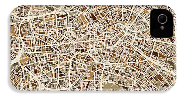 Berlin Germany Street Map IPhone 4 Case by Michael Tompsett
