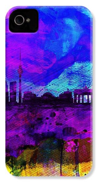 Berlin Watercolor Skyline IPhone 4 Case by Naxart Studio