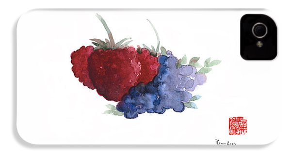 Berries Red Pink Black Blue Fruit Blueberry Blueberries Raspberry Raspberries Fruits Watercolors  IPhone 4 Case