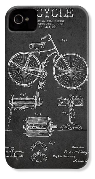 Bicycle Patent Drawing From 1891 IPhone 4 Case by Aged Pixel