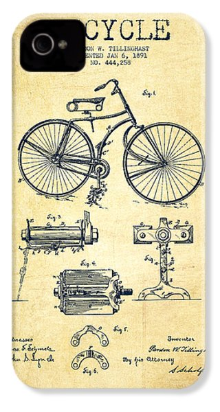 Bicycle Patent Drawing From 1891 - Vintage IPhone 4 / 4s Case by Aged Pixel