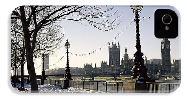 Big Ben Westminster Abbey And Houses Of Parliament In The Snow IPhone 4 Case by Robert Hallmann