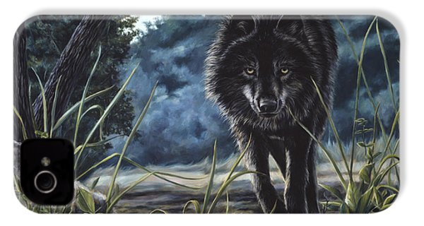 Black Wolf Hunting IPhone 4 Case by Lucie Bilodeau