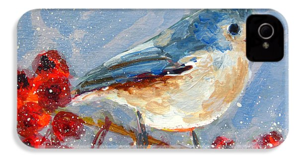Blue Bird In Winter - Tuft Titmouse Modern Impressionist Art IPhone 4 Case by Patricia Awapara