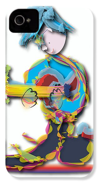 IPhone 4 Case featuring the digital art Blue Hair Guitar Player by Marvin Blaine