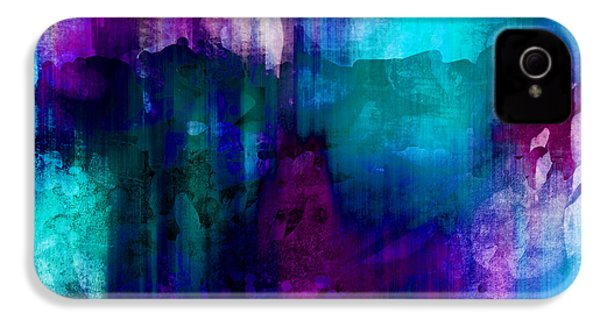 Blue Rain  Abstract Art   IPhone 4 / 4s Case by Ann Powell
