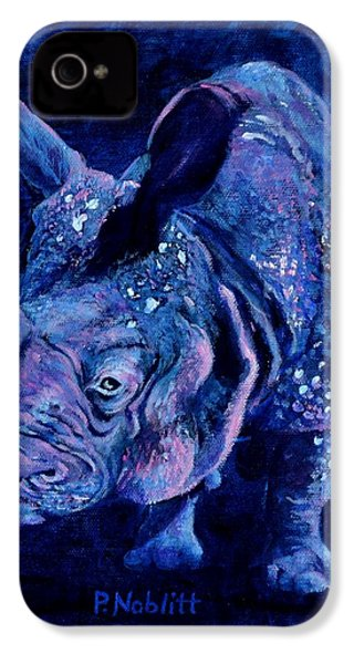 Indian Rhino - Blue IPhone 4 / 4s Case by Paula Noblitt
