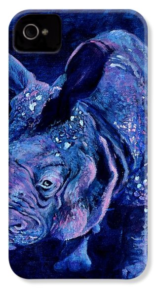 Indian Rhino - Blue IPhone 4 Case