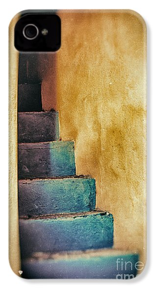 Blue Stairs - Yellow Wall    IPhone 4 Case by Silvia Ganora
