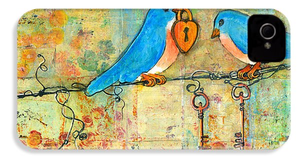 Bluebird Painting - Art Key To My Heart IPhone 4 Case by Blenda Studio