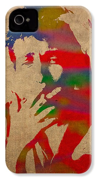 Bob Dylan Watercolor Portrait On Worn Distressed Canvas IPhone 4 Case by Design Turnpike