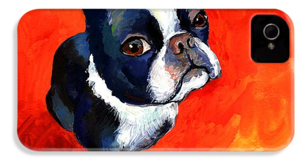 Boston Terrier Dog Painting Prints IPhone 4 Case by Svetlana Novikova