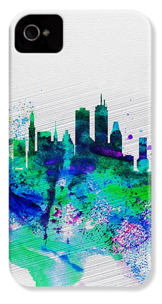 Boston Watercolor Skyline IPhone 4 Case by Naxart Studio