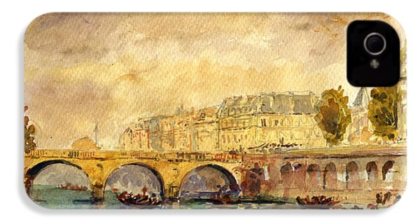 Bridge Over The Seine Paris. IPhone 4 / 4s Case by Juan  Bosco