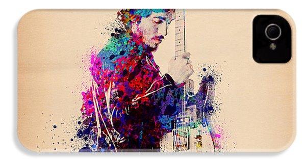 Bruce Springsteen Splats And Guitar IPhone 4 Case by Bekim Art