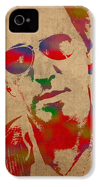 Bruce Springsteen Watercolor Portrait On Worn Distressed Canvas IPhone 4 Case by Design Turnpike