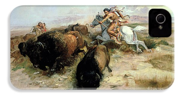 Buffalo Hunt IPhone 4 Case by Charles Marion Russell