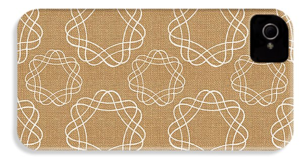 Burlap And White Geometric Flowers IPhone 4 / 4s Case by Linda Woods