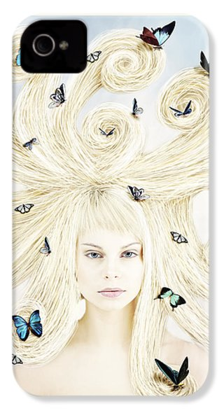 Butterfly Girl IPhone 4 Case by Linda Lees