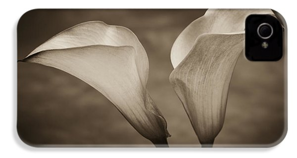 IPhone 4 Case featuring the photograph Calla Lilies In Sepia by Sebastian Musial