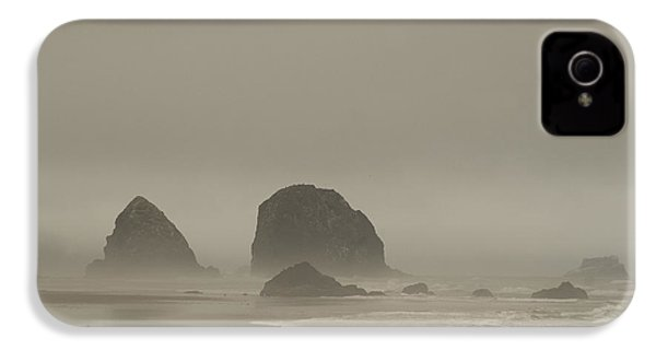 IPhone 4 Case featuring the photograph Cannon Beach In A Fog Oregon by Yulia Kazansky