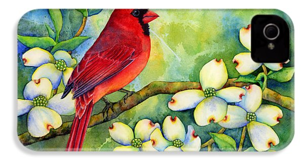 Cardinal On Dogwood IPhone 4 / 4s Case by Hailey E Herrera