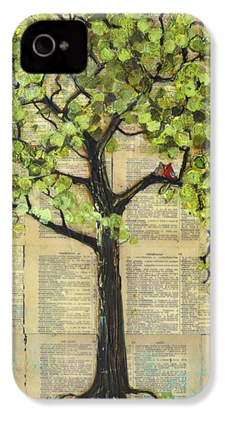 Cardinals In A Tree IPhone 4 Case by Blenda Studio