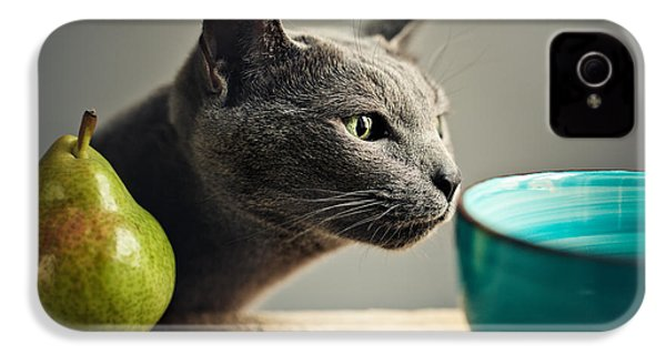 Cat And Pears IPhone 4 Case by Nailia Schwarz