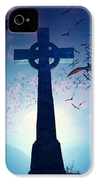 Celtic Cross With Swarm Of Bats IPhone 4 Case